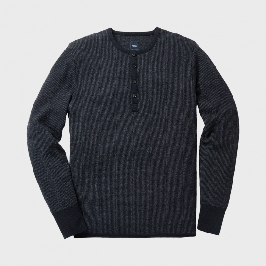 M HENLEY NECK SWEATER