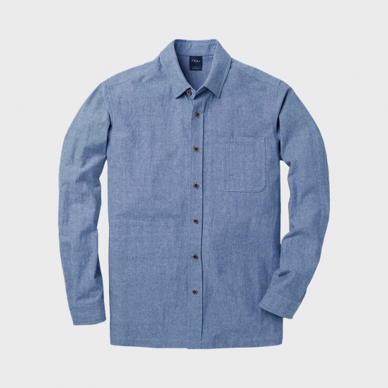 M INDIGO CHAMBRAY LONG SLEEVE SHIRT