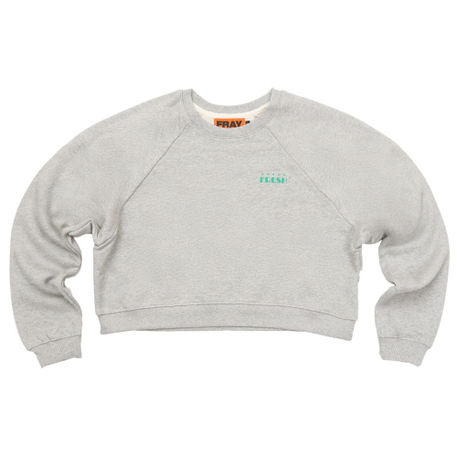 [FRAY] LOGO CROP CREWNECK SWEATER - GREY