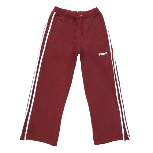 [FRAY] SIDE ZIPUP WIDE PANTS - BURGUNDY