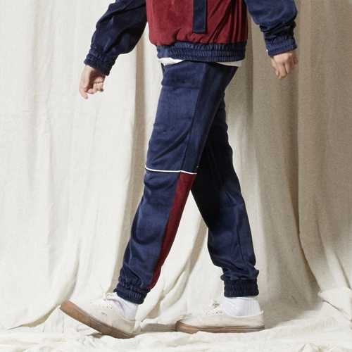 PL038_Piping Velvet Training Pants_NAVY - WINE