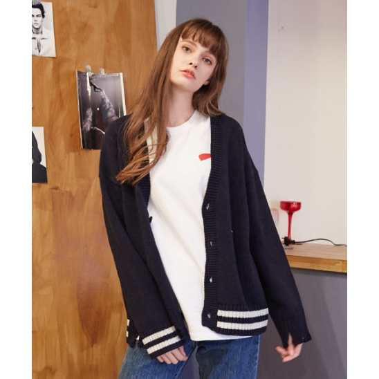 [unisex] damage cardigan (navy)