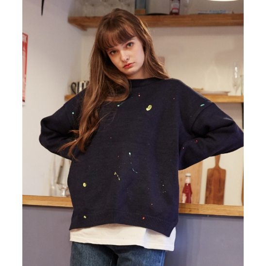 [unisex] painting knit (navy)
