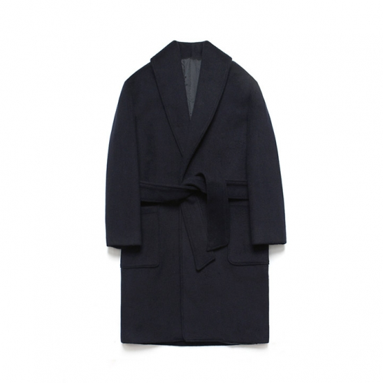 Wool robe Coat_Dusky Navy