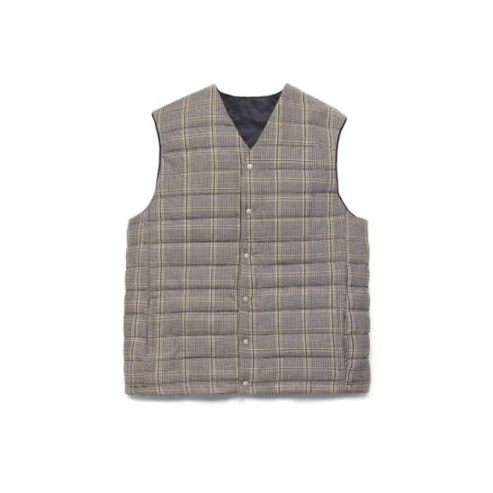 Wool Check Compact Down Vest